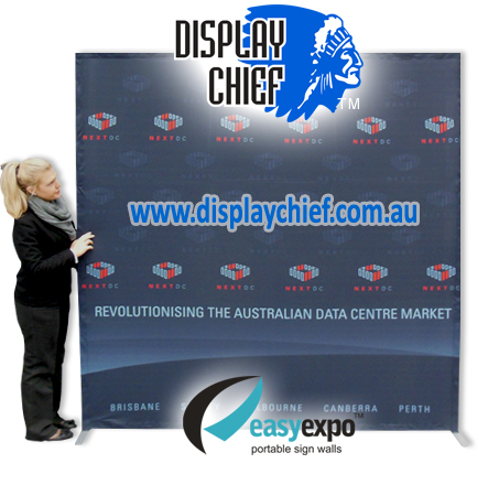 Lifesize comparison of the pop up sign wall with printed fabric banner fitted and frame expanded into full size
