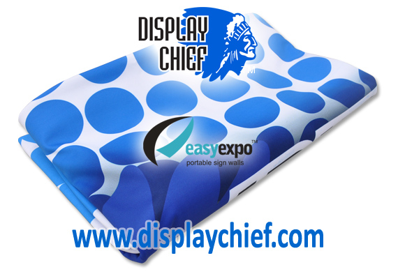 Folded Stretch Fabric used for pop up display signs and banners