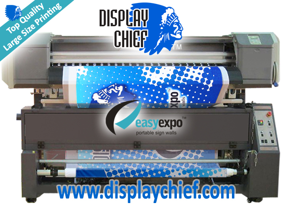 Wide format printing onto fabric pop up display sign wall blockout materials now avaiable